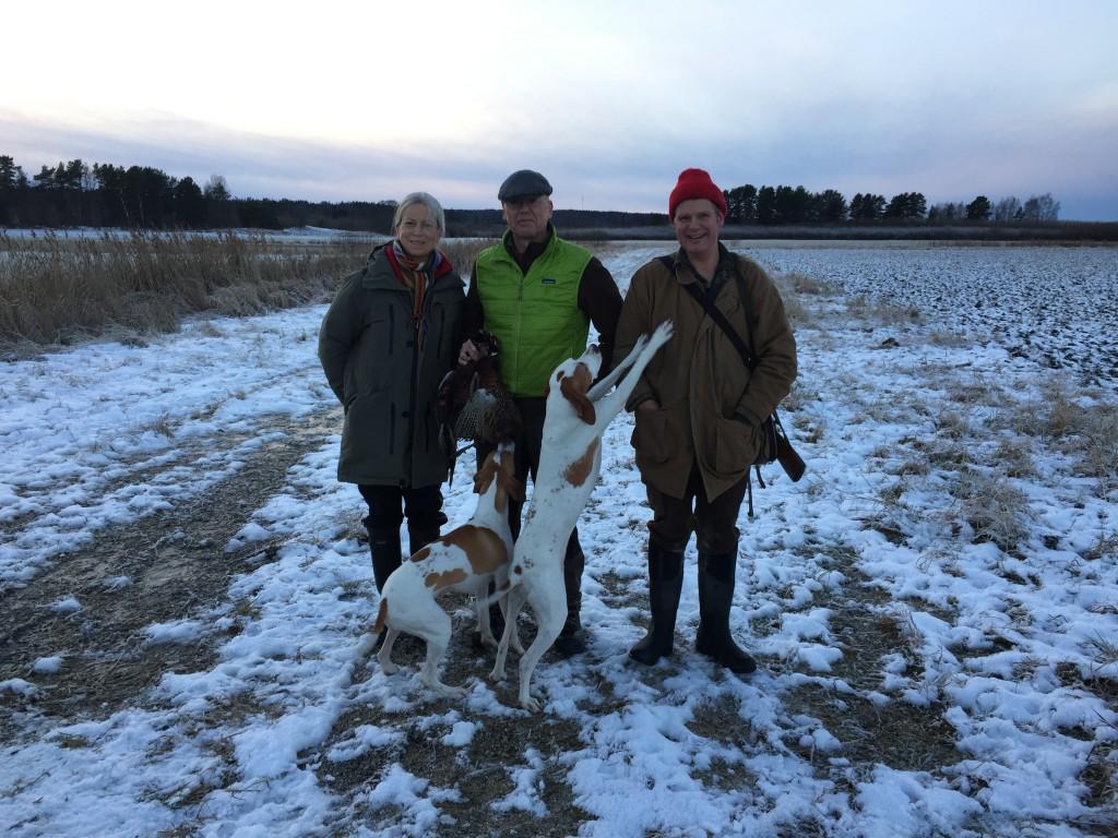 En kall dag på Nederby med Karin och Claes Jönsson, samt Claes Carnbring, bjöd på skarpt före,  ett par fasantuppar och möte med vildsvin